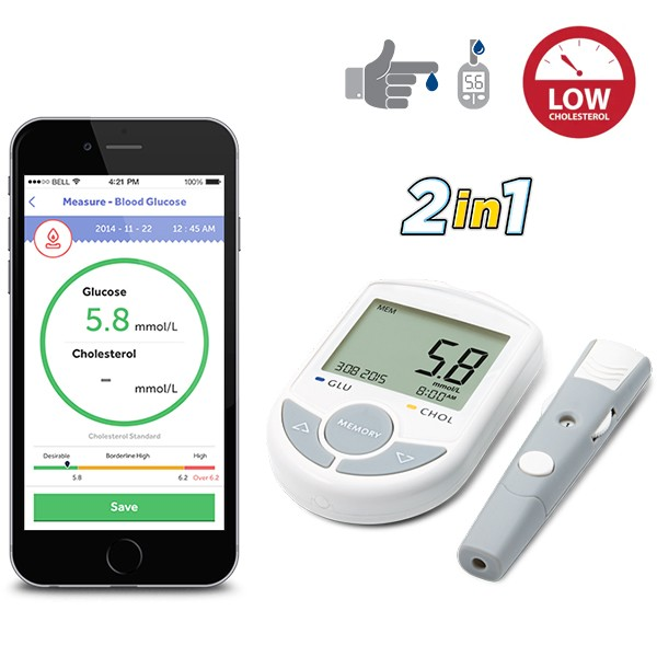 2in1 Blood Glucose and Cholesterol Meter connected to smartphone