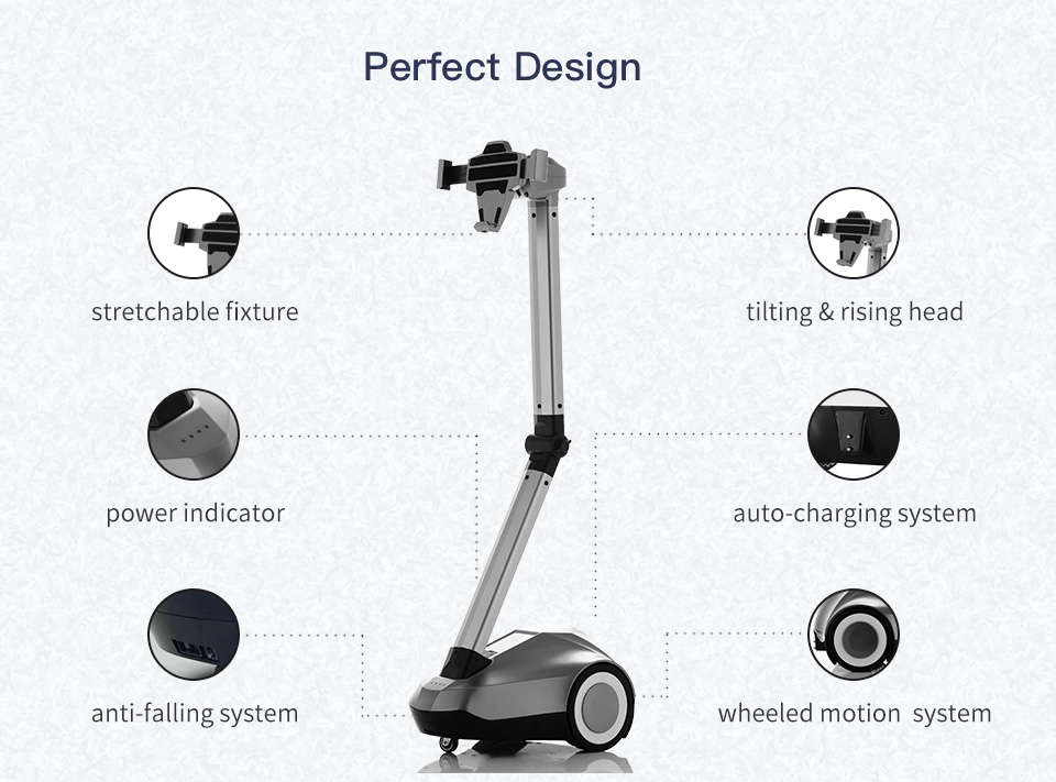 """Telepresence Robot SIFROBOT-4.0 with a Stretchable Fixture Supports 8 and 10"""" Tablet Product details"""