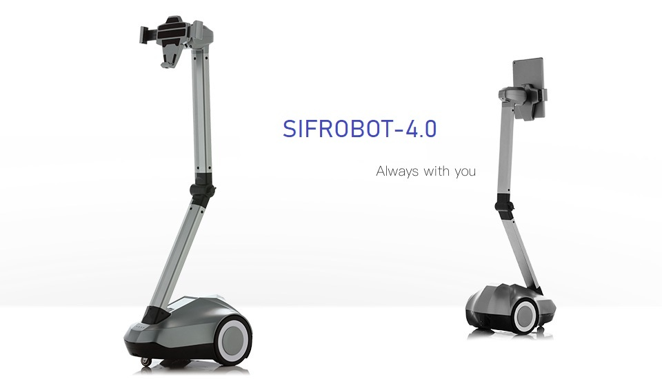 """Telepresence Robot SIFROBOT-4.0 with a Stretchable Fixture Supports 8 and 10"""" Tablet Telepresence Robot"""