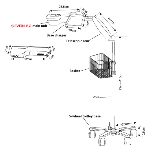 Vein Viewer Trolley Type SIFVEINSET-1.0 specification of the trolley