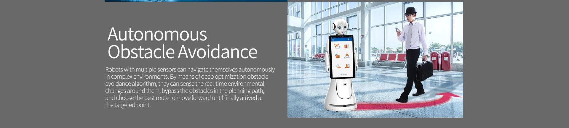 Intelligent Humanoid Reception Telepresence Robot SIFROBOT-5.0 autonomous obstacle avoidance