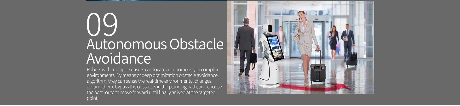 Humanoid Intelligent Commercial Service Robot SIFROBOT-5.3 obstacle