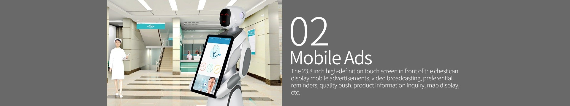 Humanoid Intelligent Commercial Service Robot SIFROBOT-5.3 mobile ads