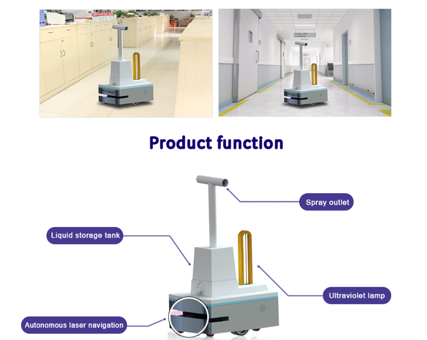 Dry Fog and UVC light Disinfection Robot