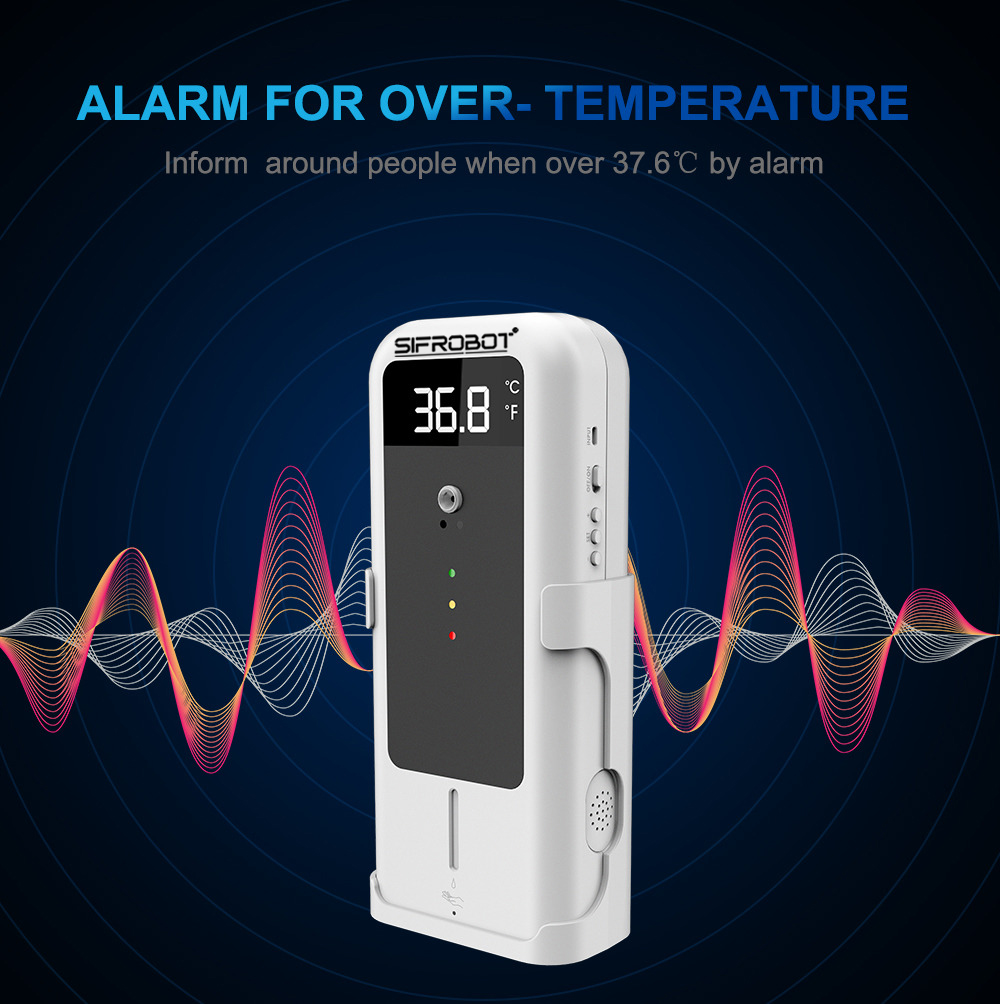 Non-contact Temperature checker with Automatic Disinfectant Dispenser: SIFCLEANTEMP-1.4 alarm