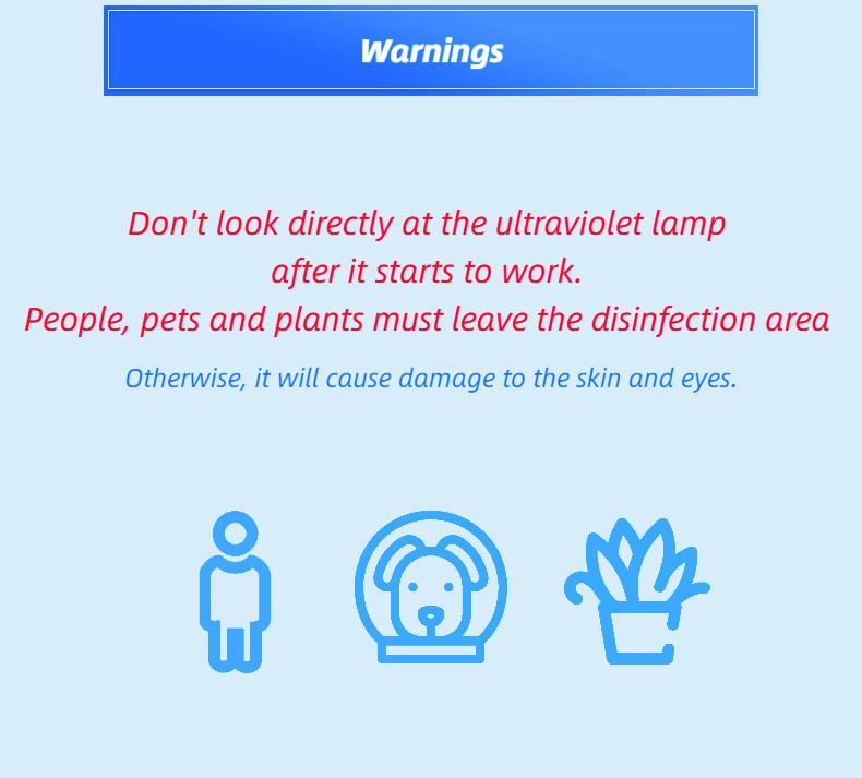 Mobile UVC Sterilization Lamp: SIFUVC-1.0 warning