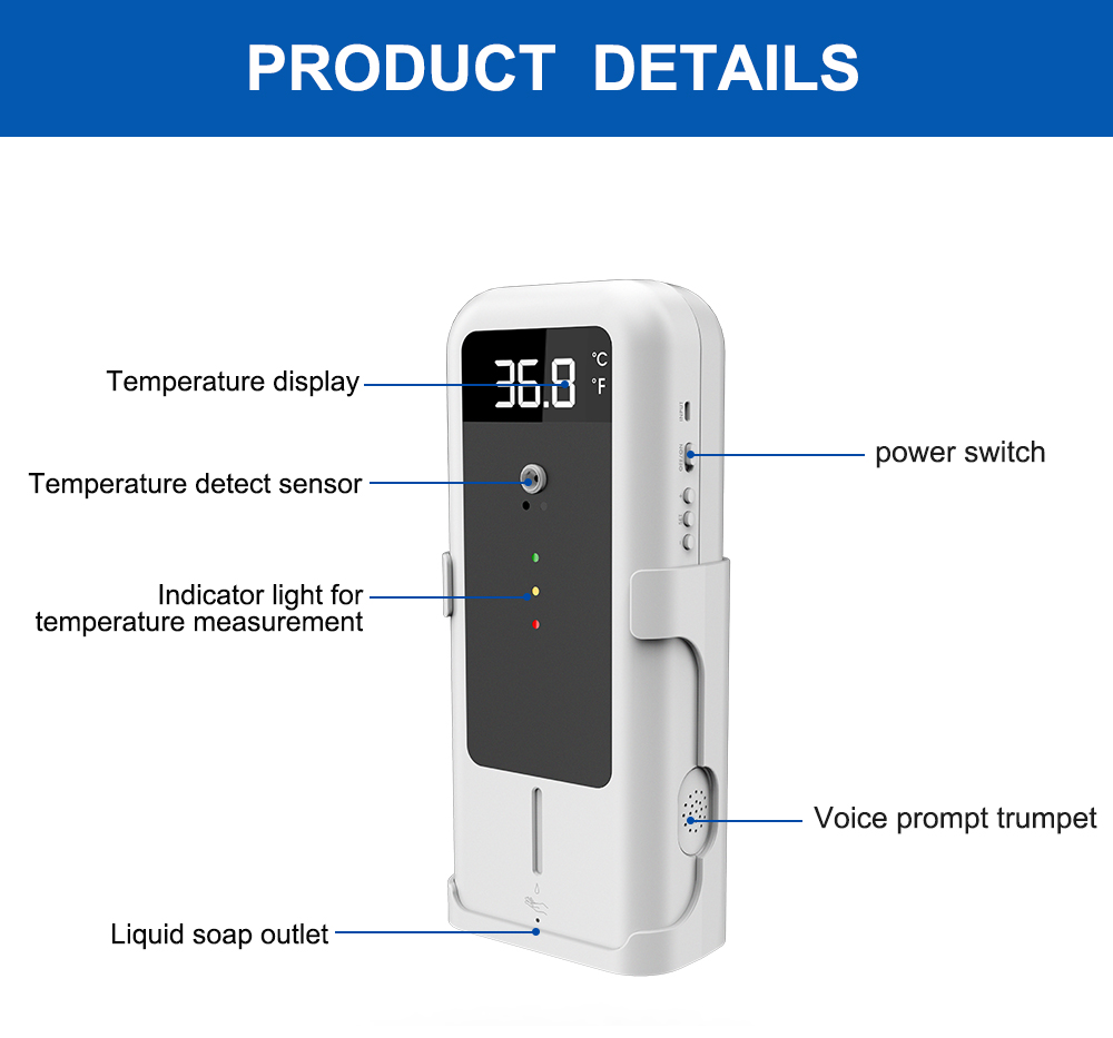SAFESCHOOLPACK-1.6: Temperature Detector with Automatic Disinfectant Dispenser + UVC and Disinfectant Sprayer product details