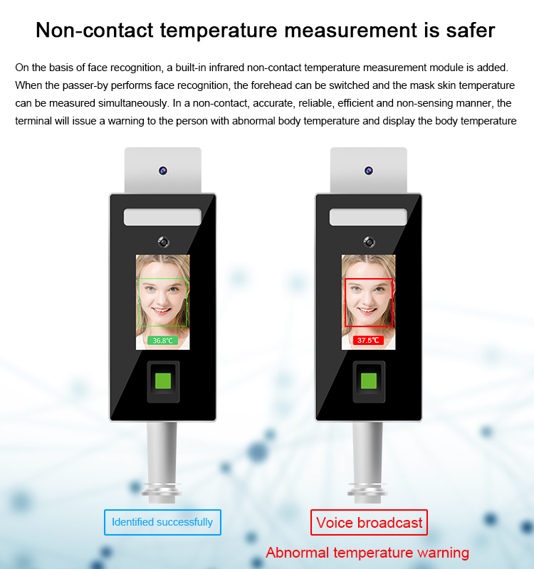 Face recognition and Fingerprint Temperature checker Stand type: SIFROBOT-7.82 non-contact