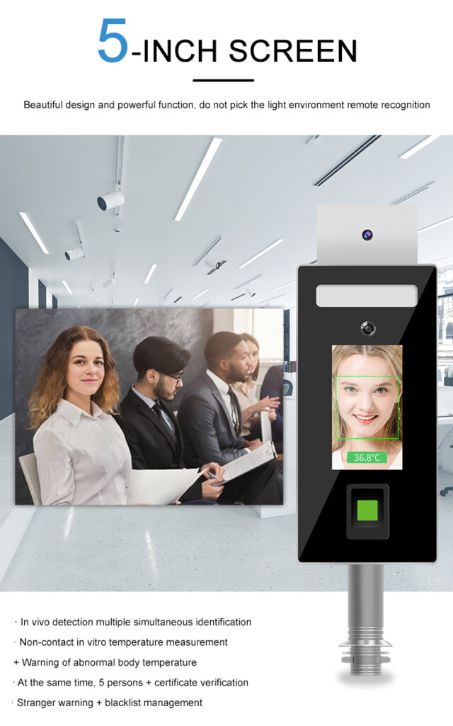 Face recognition and Fingerprint Temperature checker Stand type: SIFROBOT-7.82 screen