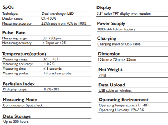 Handheld Oximeter SIFOXI-1.3 technical specifications