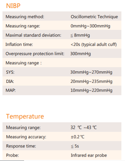Specifications of Bluetooth Vital signs Monitor SIFVITAL-1.2