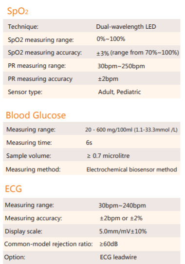 Technical specifications of All-in one Bluetooth vital monitor SIFVITAL-1.2